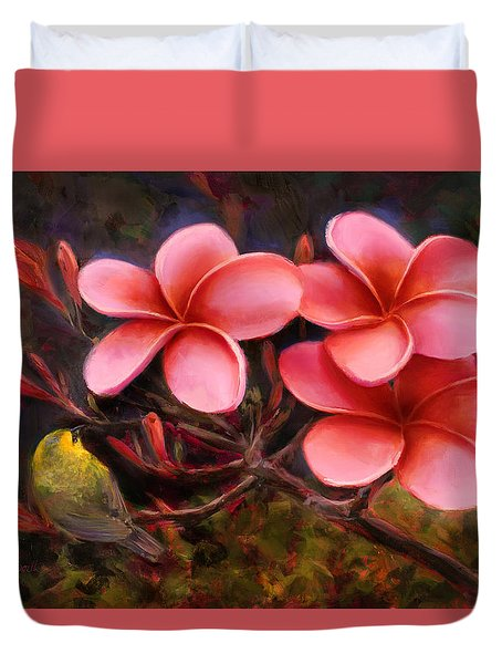 Duvet Cover featuring the painting Hawaiian Pink Plumeria And Amakihi Bird by Karen Whitworth