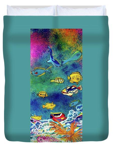 Hawaiian Reef  Fish #223 Duvet Cover by Donald k Hall