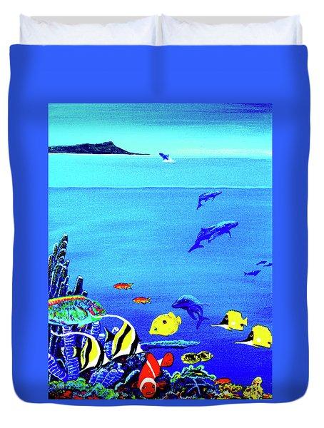 Hawaiian Reef Fish Nimo #193 Duvet Cover by Donald k Hall