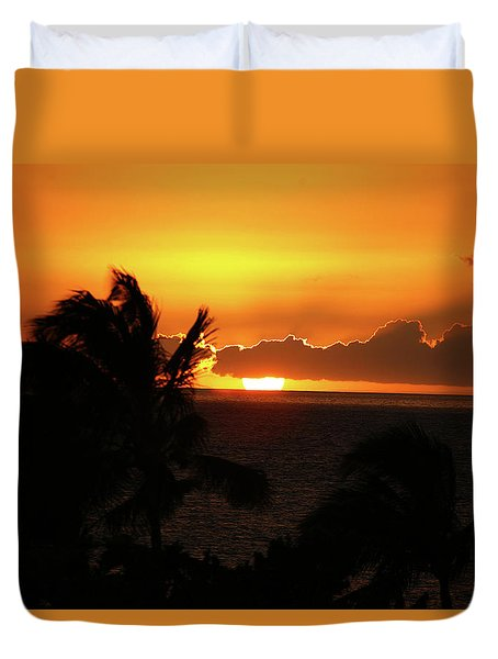 Duvet Cover featuring the photograph Hawaiian Sunset by Anthony Jones