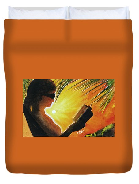 Hawaiian Sunset Catching The Last Rays #132 Duvet Cover by Donald k Hall