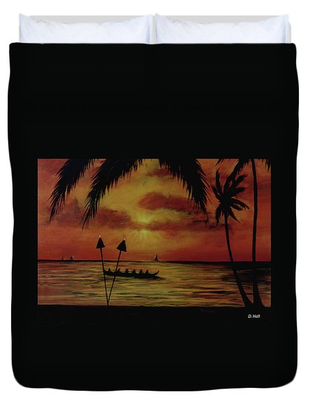 Hawaiian Sunset Paddlers #283 Duvet Cover by Donald k Hall