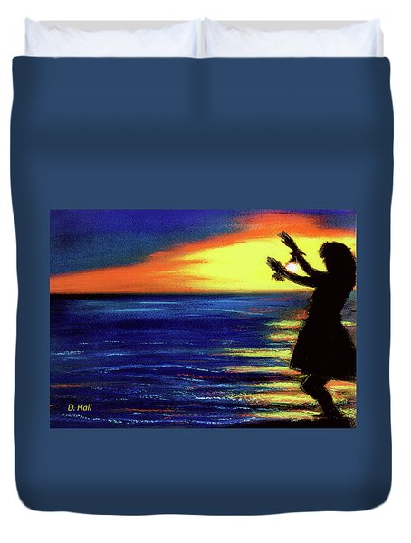 Hawaiian Sunset With Hula Dance  #183, Duvet Cover by Donald k Hall
