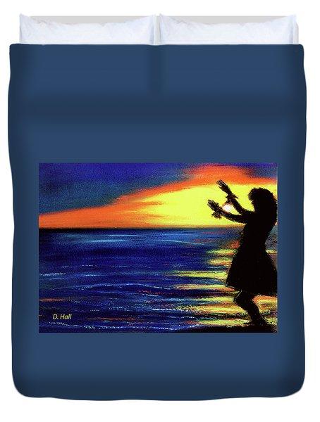 Hawaiian Sunset With Hula Dance  #183, Duvet Cover by Donald k Hall