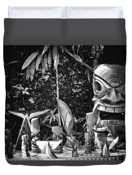 Duvet Cover featuring the photograph Hawaiian Tiki Carvings by Sharon Mau