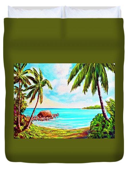 Hawaiian Tropical Beach #388 Duvet Cover by Donald k Hall