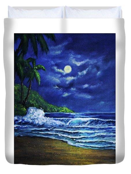 Hawaiian Tropical Ocean Moonscape Seascape #377 Duvet Cover by Donald k Hall