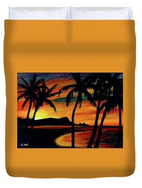 Hawaiian Waikiki Sunrise Over Diamond Head  #266 Duvet Cover by Donald k Hall