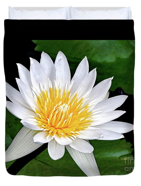 Hawaiian White Water Lily Duvet Cover by Sue Melvin