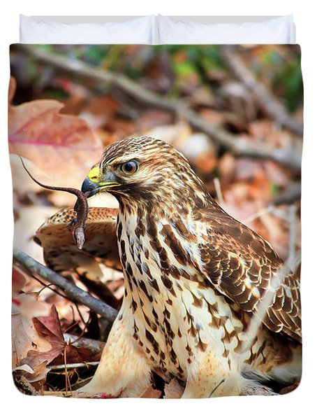 Hawk Catches Prey Duvet Cover