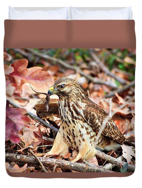 Hawk Catches Prey Duvet Cover