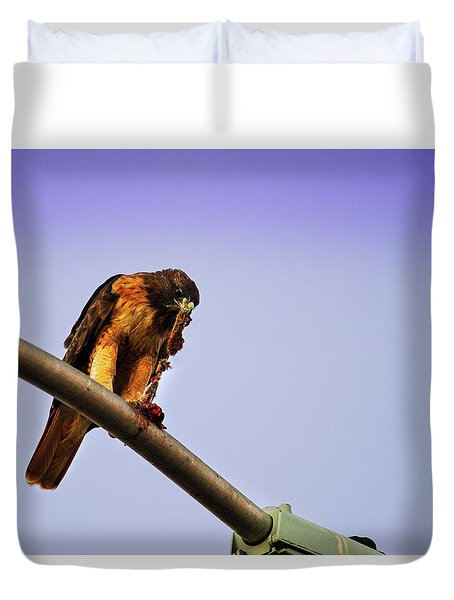 Hawk Eating Duvet Cover