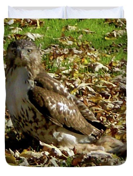 Hawk Falling Leaves Duvet Cover