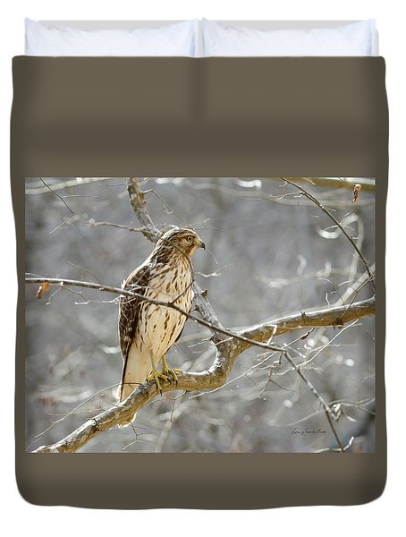 Duvet Cover featuring the photograph Hawk On Lookout by George Randy Bass