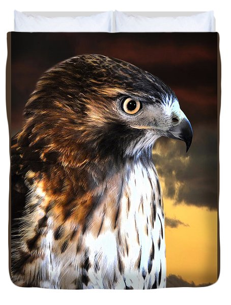 Hawk Sunset Duvet Cover