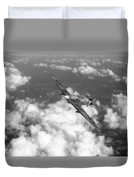 Duvet Cover featuring the photograph Hawker Hurricane IIb Of 174 Squadron Bw Version by Gary Eason