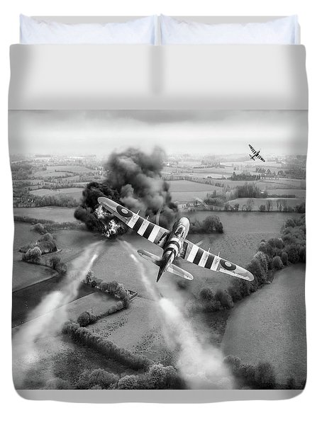 Duvet Cover featuring the photograph Hawker Typhoon Rocket Attack Bw Version by Gary Eason