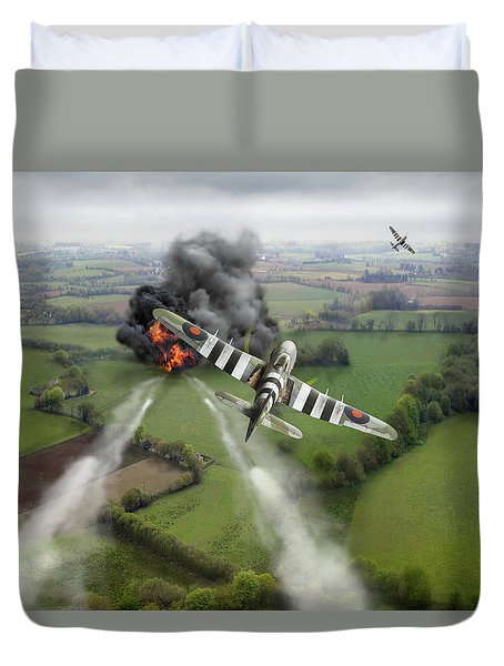 Duvet Cover featuring the photograph Hawker Typhoon Rocket Attack by Gary Eason