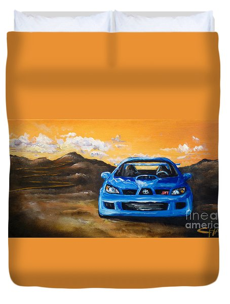 Duvet Cover featuring the painting Hawkeye  by Chad Berglund