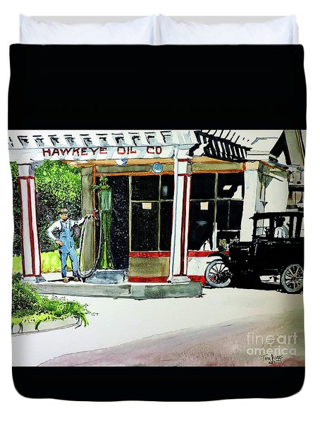 Duvet Cover featuring the painting Hawkeye Oil Co by Tom Riggs