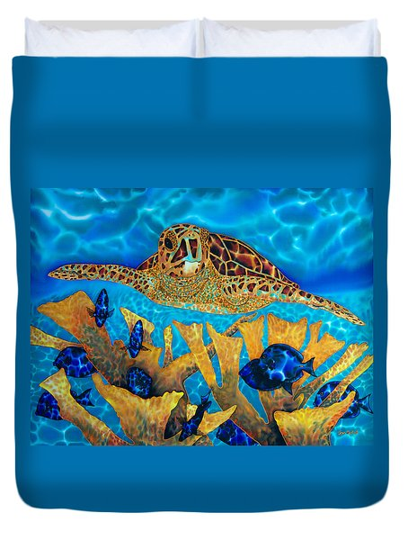 Hawksbill Sea  Turtle Duvet Cover