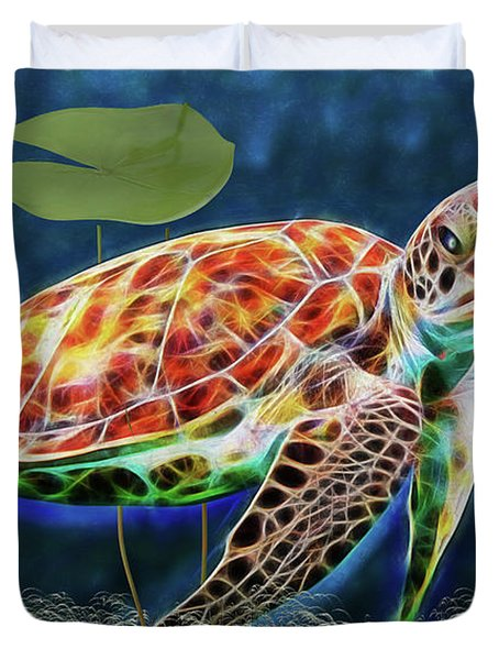 Duvet Cover featuring the digital art Hawksbill Sea Turtle by Ericamaxine Price