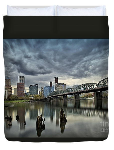 Hawthorne Bridge Across The Willamette Portland Oregon  Duvet Cover
