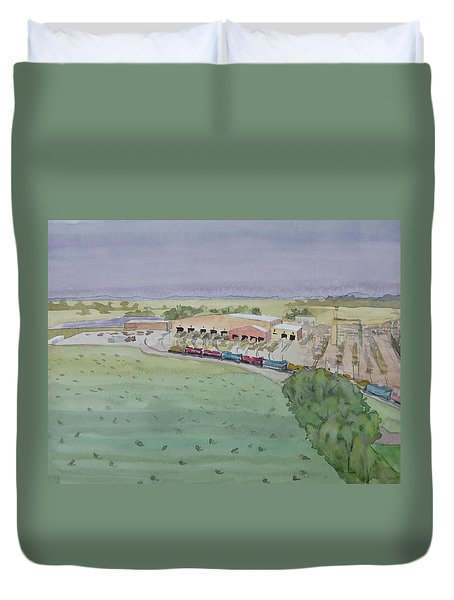 Hay And Trains Field Duvet Cover by Bethany Lee