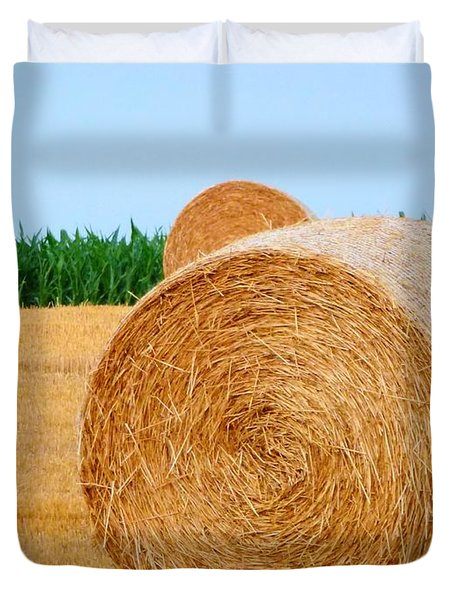 Hay Bale With Crane Duvet Cover by Michael Garyet