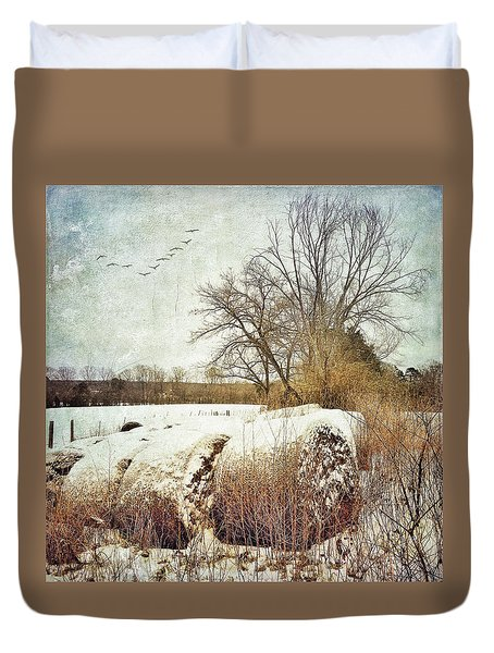 Hay Bales In Snow Duvet Cover