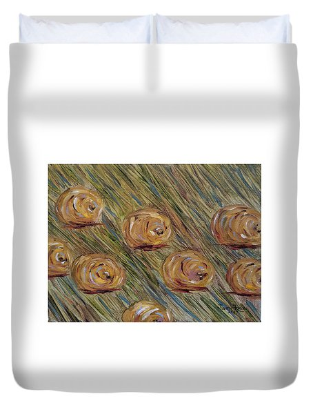 Duvet Cover featuring the painting Hay Bales by Judith Rhue