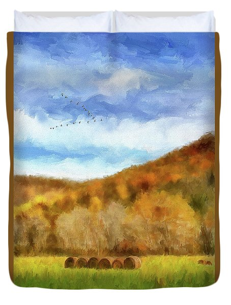 Duvet Cover featuring the photograph Hay Bales by Lois Bryan