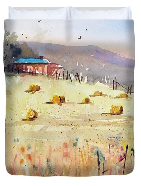 Hay Bales Duvet Cover by Ryan Radke