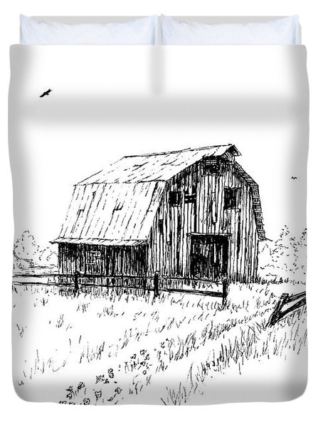 Hay Barn With Broken Gate Duvet Cover