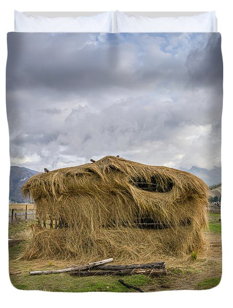 Hay Hut In Andes Duvet Cover
