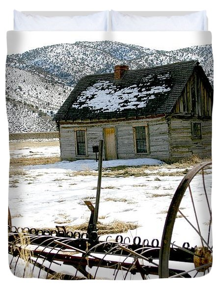 Hay Rake At Butch Cassidy Duvet Cover by Nelson and Cheryl Strong