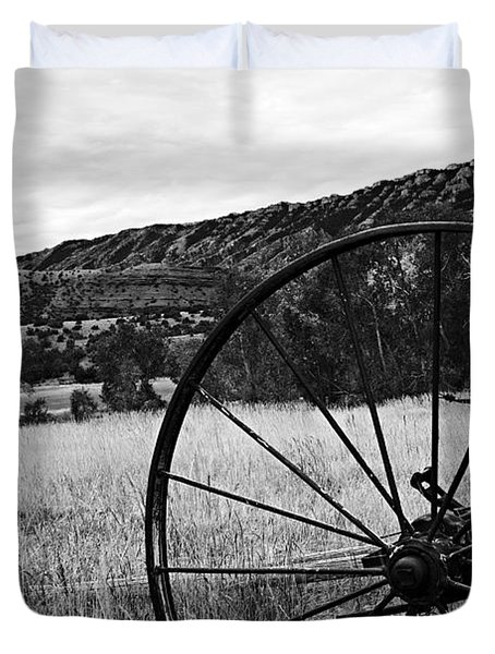 Hay Rake At The Ewing-snell Ranch Duvet Cover by Larry Ricker
