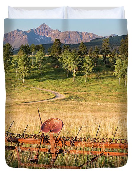 Hay Rake In Morning Sun Duvet Cover