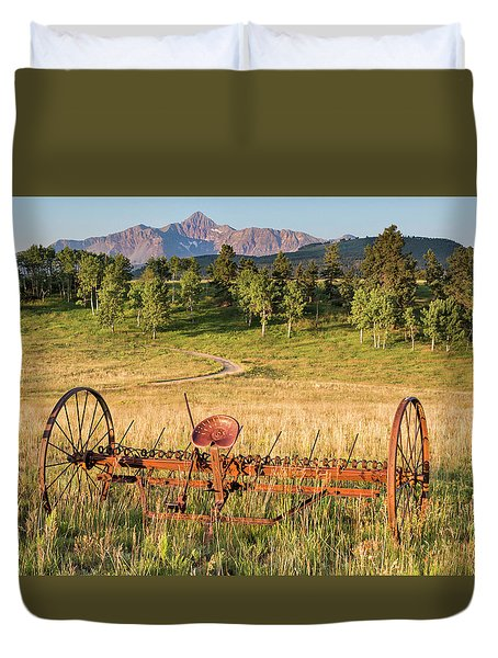 Hay Rake In Morning Sun Duvet Cover