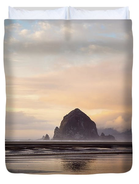 Haystack Rock After The Rain Duvet Cover