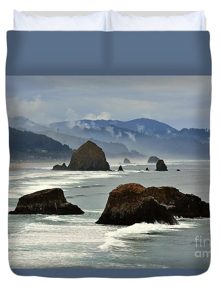 Haystack Rock-cannon Beach Duvet Cover by Scott Cameron