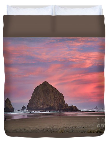 Haystack Rock- First Light Duvet Cover