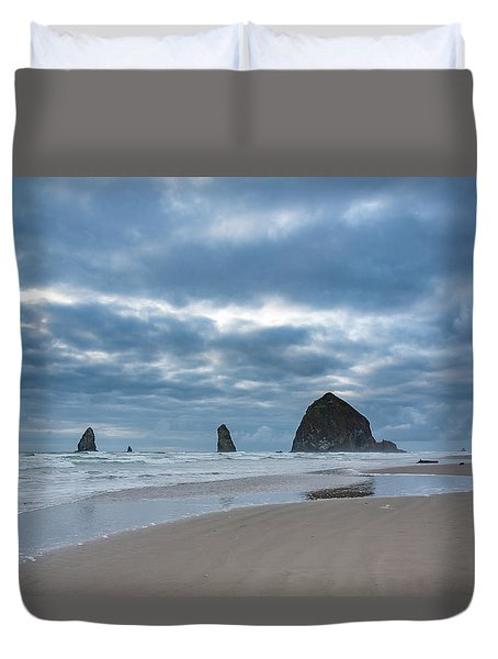 Haystack Rock, The Needles, And Cannon Beach Duvet Cover