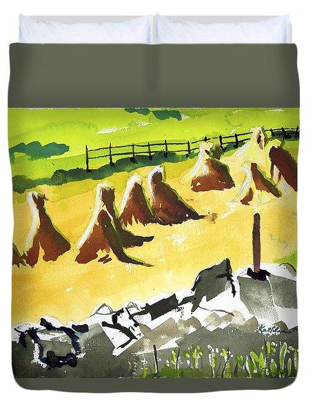 Haystacks And Wall Duvet Cover