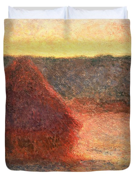 Haystacks At Sunset Duvet Cover by Claude Monet