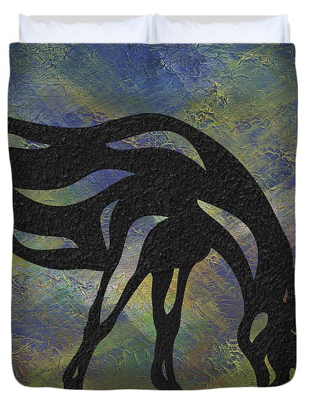 Duvet Cover featuring the painting Hazel - Abstract Horse by Manuel Sueess