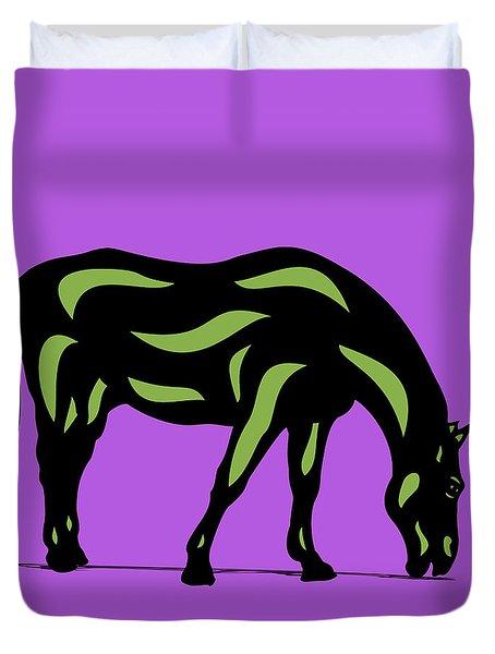 Hazel - Pop Art Horse - Black, Greenery, Purple Duvet Cover