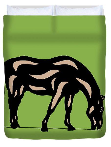 Hazel - Pop Art Horse - Black, Hazelnut, Greenery Duvet Cover