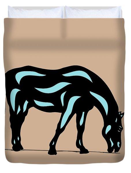 Hazel - Pop Art Horse - Black, Island Paradise Blue, Hazelnut Duvet Cover