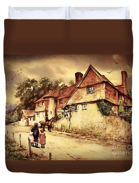Duvet Cover featuring the digital art Hazelmere Cottage - English Lake District by Lianne Schneider